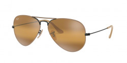 Ray-Ban RB 3025 AVIATOR 9153AG  BLACK ON TOP MATTE BEIGE yellow bi-mirror grey