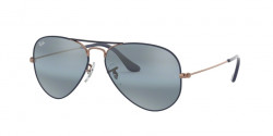 Ray-Ban RB 3025 AVIATOR 9156AJ  COPPER ON MATTE DARK BLUE blue bi-mirror grey
