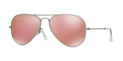 Ray-Ban RB 3025 AVIATOR 019/Z2 MATTE SILVER  brown mirror pink
