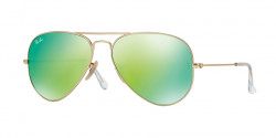 Ray-Ban RB 3025 AVIATOR 112/19 MATTE GOLD cry.green mirror multil.green