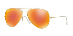 Ray-Ban RB 3025 AVIATOR 112/69 MATTE GOLD  crystal brown mirror orange