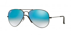 Ray-Ban RB 3025 AVIATOR 002/4O  SHINY BLACK  mirror gradient blue
