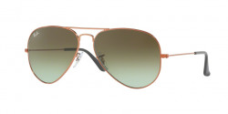 Ray-Ban RB 3025 AVIATOR 9002A6  SHINY MEDIUM BRONZE green gradient brown