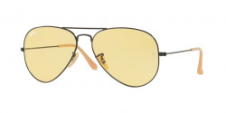Ray-Ban RB 3025 AVIATOR 90664A  MATTE BLACK photo yellow