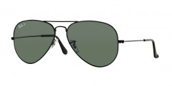 Ray-Ban RB 3025 AVIATOR Polarized 002/58  BLACK crystal green polarized