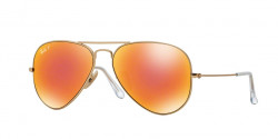 Ray-Ban RB 3025 AVIATOR Polarized 112/4D  MATTE GOLD brown mirror red polar