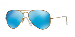 Ray-Ban RB 3025 AVIATOR Polarized 112/4L  MATTE GOLD  blue mirror polar
