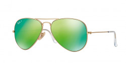 Ray-Ban RB 3025 AVIATOR Polarized 112/P9  MATTE GOLD green mirror polar