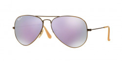 Ray-Ban RB 3025 AVIATOR Polarized 167/1R  BRUSHED BRONZE DEMISHINY  grey mirror lilac polar
