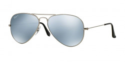 Ray-Ban RB 3025 AVIATOR Polarized 019/W3     MATTE SILVER silver mirror polar