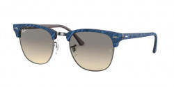 Ray-Ban RB 3016 CLUBMASTER  131032  TOP WRINKLED BLUE ON BROWN  clear gradient grey