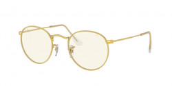 Ray-Ban RB 3447 ROUND METAL 9196BL  LEGEND GOLD photo grey/blue light filter