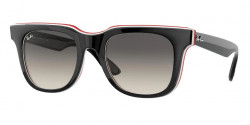 Ray-Ban RB 4368  651811  BLACK WHITE RED grey gradient dark grey