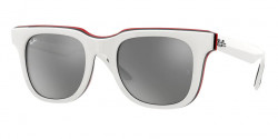Ray-Ban RB 4368  65196G  WHITE BLACK RED  grey mirror silver