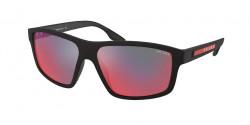 Prada PS 02 XS  DG008F  BLACK RUBBER dark grey mirror blue/red