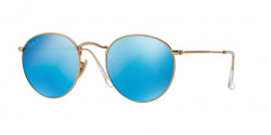 Ray-Ban RB 3447 ROUND METAL 112/4L  MATTE GOLD, blue mirror polar