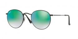 Ray-Ban RB 3447 ROUND METAL 002/4J  SHINY BLACK, mirror gradient green