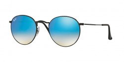 Ray-Ban RB 3447 ROUND METAL 002/4O  SHINY BLACK, mirror gradient blue