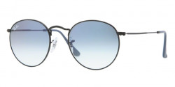 Ray-Ban RB 3447 ROUND METAL 006/3F  MATTE BLACK, crystal gradient light blue