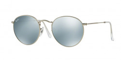Ray-Ban RB 3447 ROUND METAL 019/30  MATTE SILVER, light green mirror silver