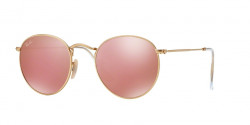 Ray-Ban RB 3447 ROUND METAL 112/Z2  MATTE GOLD,  brown mirror pink