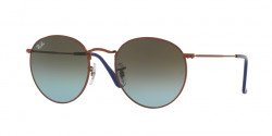 Ray-Ban RB 3447 ROUND METAL 900396  SHINY DARK BRONZE, blue gradient brown