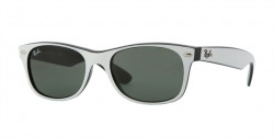 Ray-Ban RB 2132 NEW WAYFARER 770  TOP DARK WHITE ON BLACK crystal green