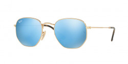 Ray-Ban RB 3548 N HEXAGONAL 001/9O  GOLD  light blue flash